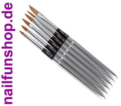 Acryl Pinselset 6-teilig [Alu/Chrome] Größe 2 • 4 • 6 • 8 • 10 • 12
