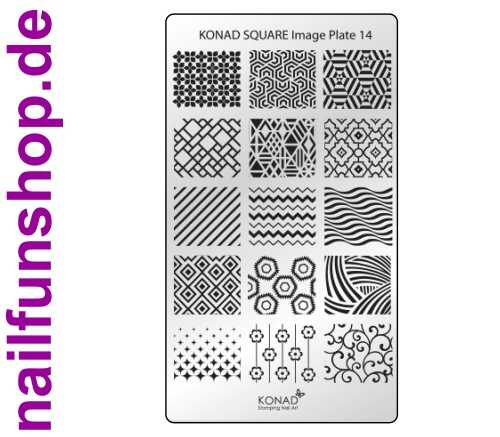 KONAD Square 14 Stamping Schablone - SQUARE No. 14
