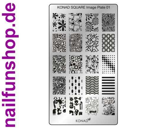 KONAD Square 1 Stamping Schablone - SQUARE No. 1