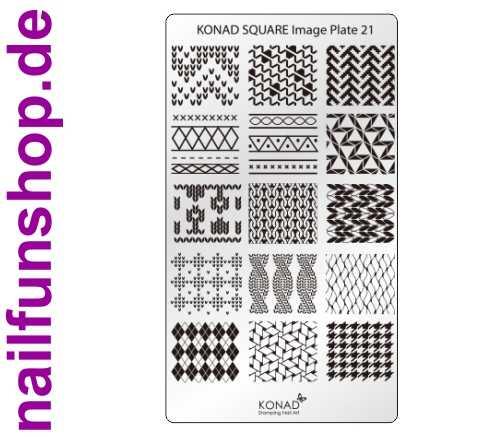 KONAD Square 21 Stamping Schablone - SQUARE No. 21