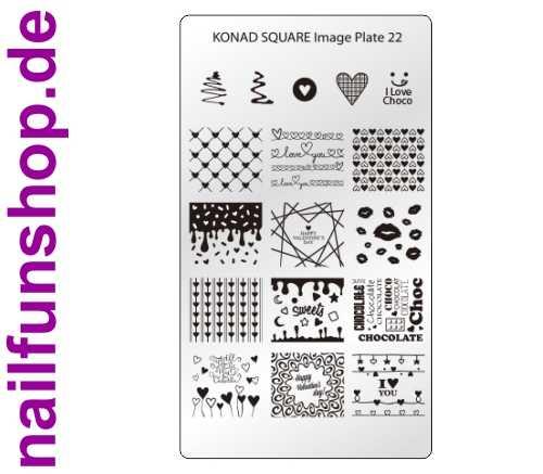 KONAD Square 22 Stamping Schablone - SQUARE No. 22