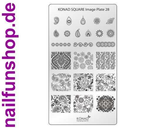 KONAD Square 28 Stamping Schablone - SQUARE No. 28