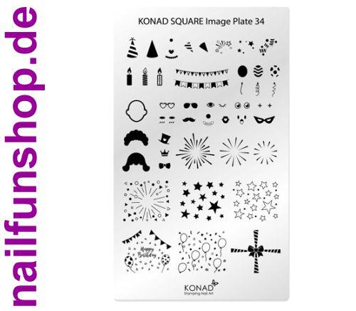 KONAD Square 34 Stamping Schablone - SQUARE No. 34