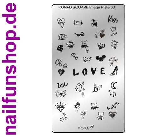 KONAD Square 3 Stamping Schablone - SQUARE No. 3