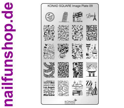 KONAD Square 9 Stamping Schablone - SQUARE No. 9